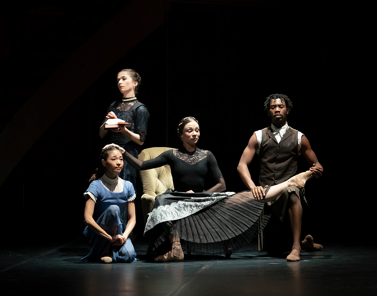 Abigail Prudames as Victoria, Mlindi Kulashe as John Brown with Pippa Moore as older Princess Beatrice and Miki Akuta as younger Beatrice in <i>Victoria</i>.<br />© Emma Kauldhar. (Click image for larger version)