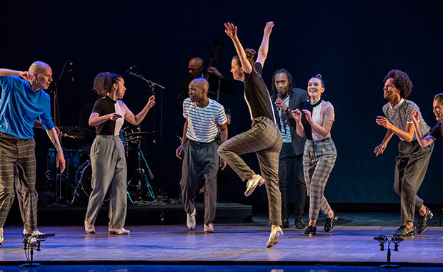 Dorrance Dance in <I>Jump Monk</I>.<br />© Stephanie Berger. (Click image for larger version)