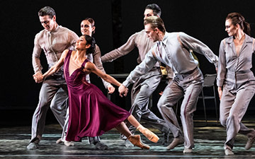 Crystal Costa and 5 Voices (Adela Ramirez, Angela Wood, James Forbat, Francisco Bosch and Henry Dowden) in Stina Quagebeur's Nora. © Foteini Christofilopoulou. (Click image for larger version)