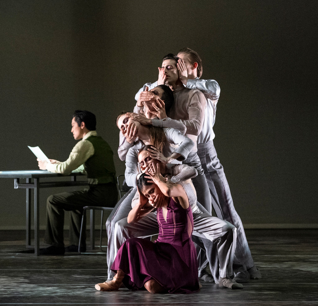 Crystal Costa and 5 Voices (Adela Ramirez, Angela Wood, James Forbat, Francisco Bosch and Henry Dowden) with Jeffrey Cirio in Stina Quagebeur's Nora. © Foteini Christofilopoulou. (Click image for larger version)