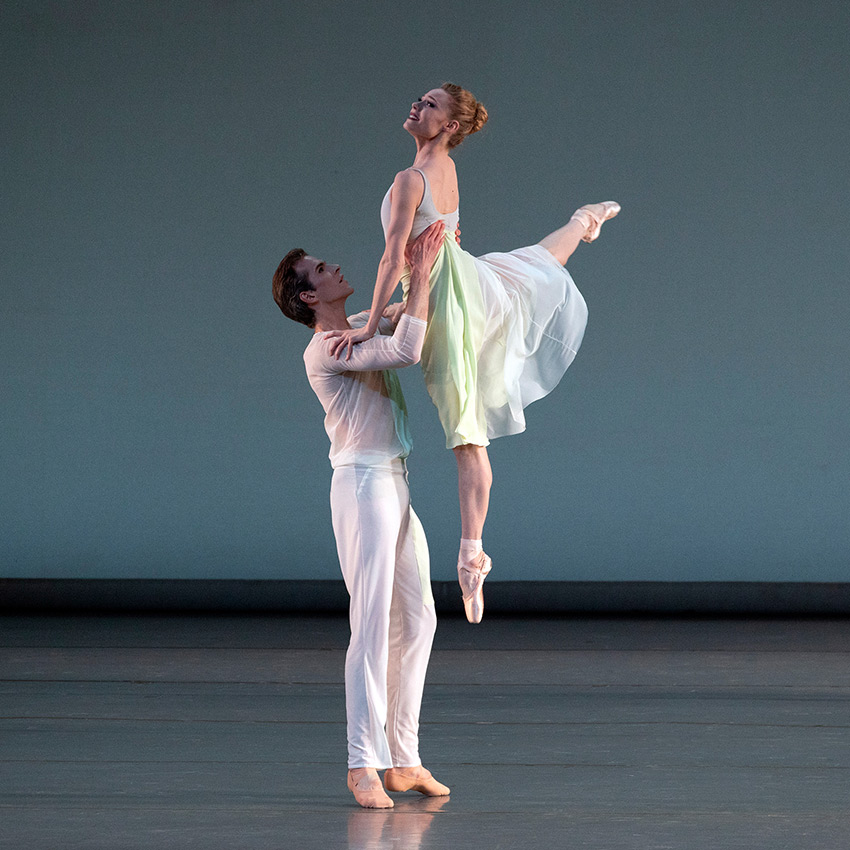 Sara Mearns and Russell Janzen in Justin Peck's <I>Bright</I>.<br />© Erin Baiano. (Click image for larger version)