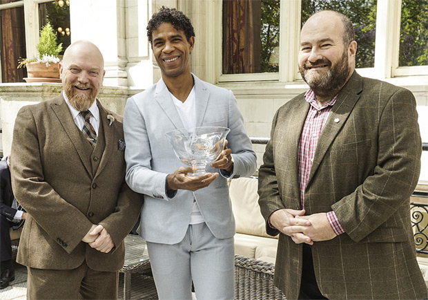 Carlos Acosta CBE with Dance Section Charirman Graham Watts (left) and Mark Shenton, President of the Critics Circle.<br />© Peter Hogan. (Click image for larger version)