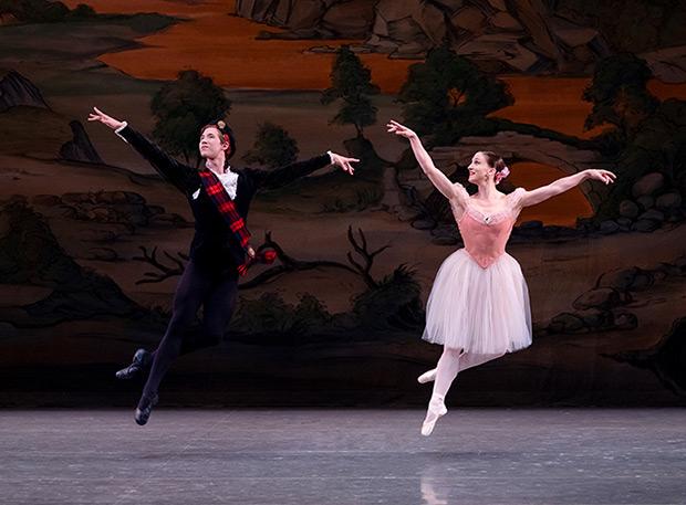 Joseph Gordon and Ashley Bouder in Balanchine's <I>Scotch Symphony</I>.<br />© Paul Kolnik. (Click image for larger version)