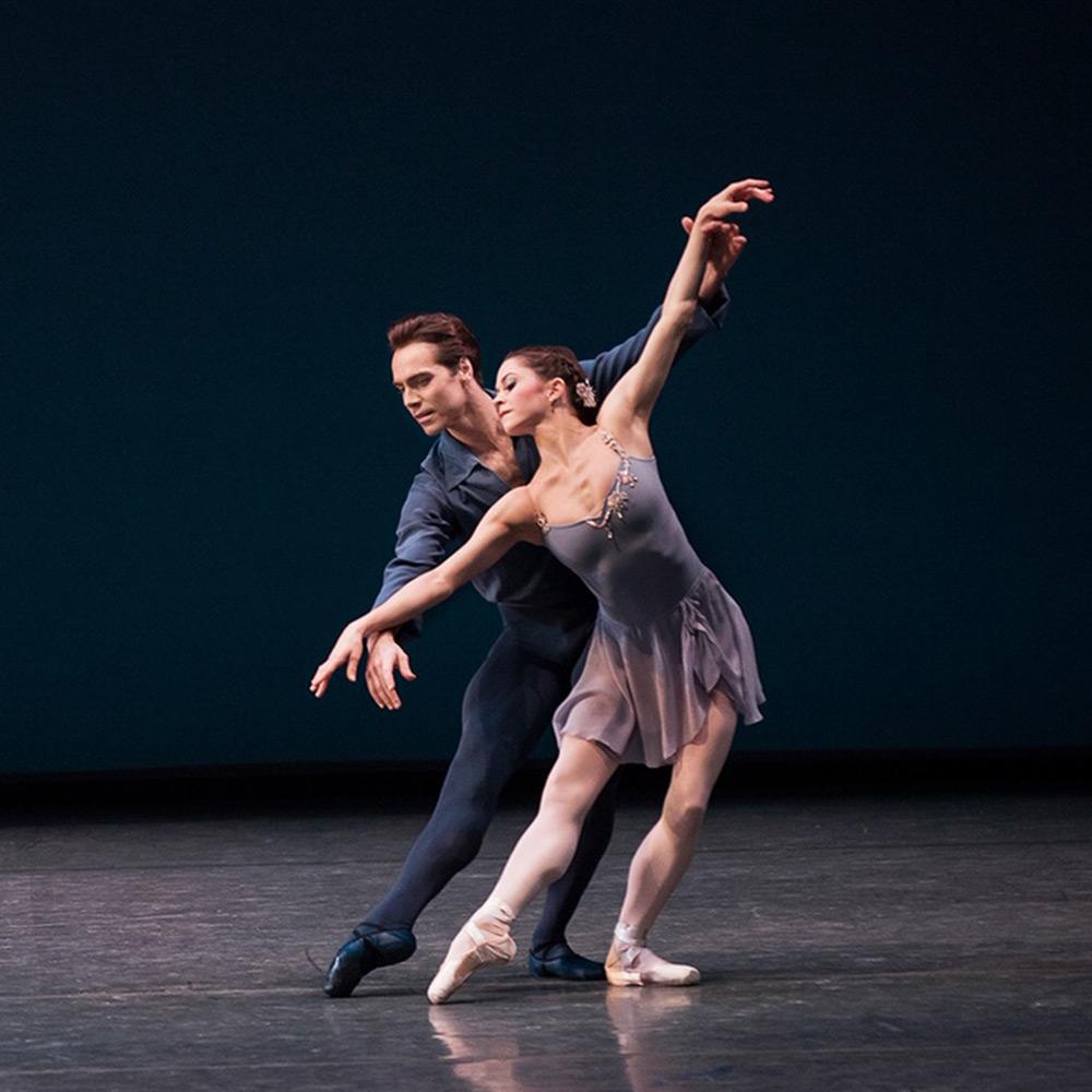 Megan Fairchild and Gonzalo Garcia in Balanchine's <I>Sonatine</I>, from 2016.<br />© Paul Kolnik. (Click image for larger version)