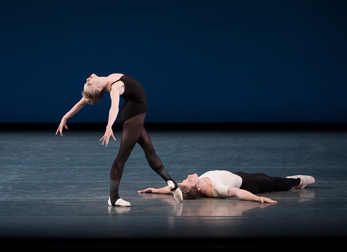 Sara Mearns and Adrian Danchig-Waring in Balanchine's <I>Stravinsky Violin Concerto</I>, from 2016.<br />© Paul Kolnik. (Click image for larger version)