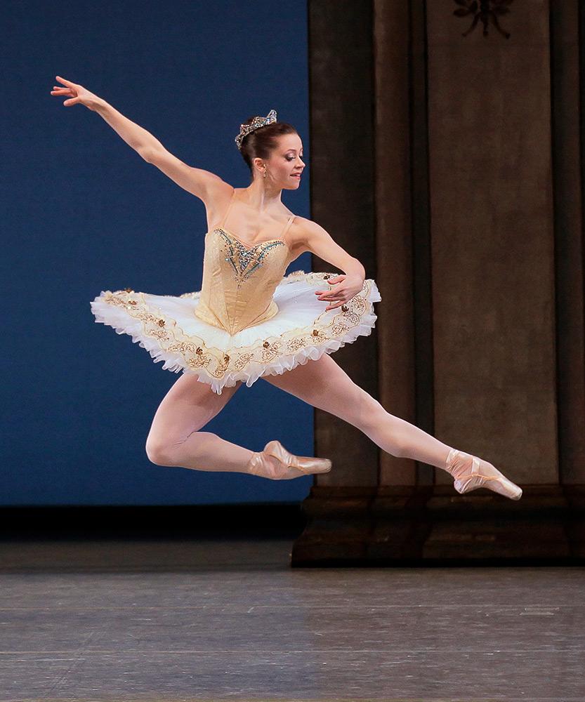 Megan Fairchild in Balanchine's <I>Tschaikovsky Suite No. 3</I>.<br />© Paul Kolnik. (Click image for larger version)