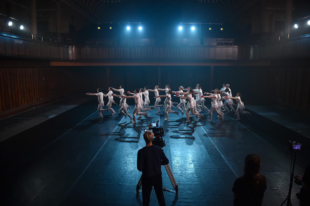 Scottish Ballet dancers on set for <I>Tremble</I>, part of Scottish Ballet's Digital Season.<br />© Rimbaud Patron. (Click image for larger version)