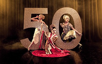 Northern Ballet 50th Anniversary flyer with Antoinette Brooks-Daw, Rachael Gillespie and Pippa Moore.© Guy Farrow. (Click image for larger version)