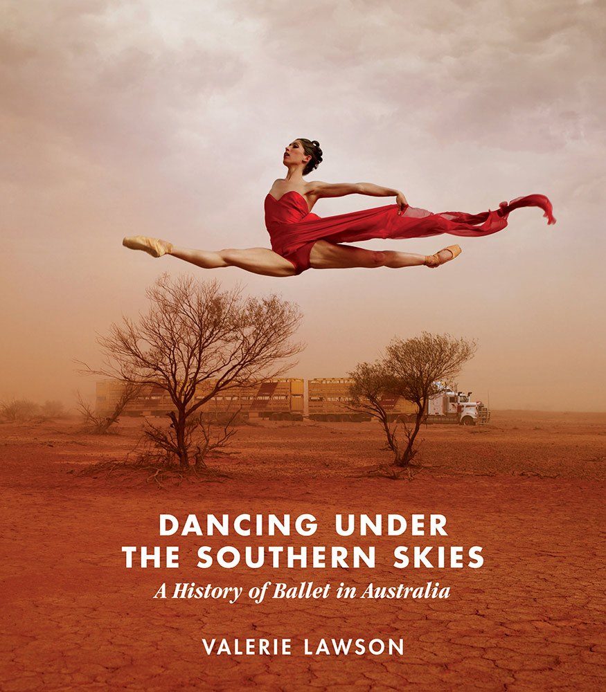 The <I>Dancing Under The Southern Skies</I> book cover, featuring Leanne Benjamin, in a photo © Jason Bell.<br />© Australian Scholarly Publishing. (Click image for larger version)
