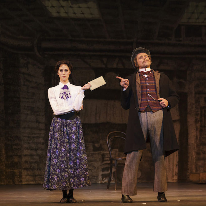 Samara Downs and Jonathan Payn in Hobson's Choice.© Bill Cooper. (Click image for larger version)