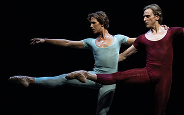 Joseph Gordon and David Hallberg in Maurice Béjart's Song of a Wayfarer.© Maria Baranova. (Click image for larger version)