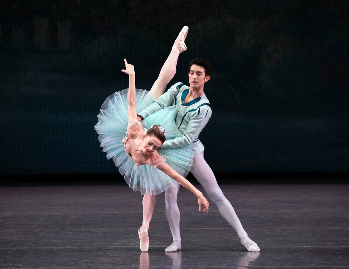 Megan Fairchild and Anthony Huxley in George Balanchine's Raymonda Variations.© Erin Baiano. (Click image for larger version)