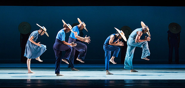 Alvin Ailey American Dance Theater in Jamar Roberts <I>Members Don't Get Weary</I>.<br />© Paul Kolnik. (Click image for larger version)