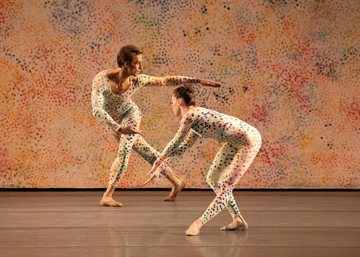 Adrian Danchig-Waring and Emilie Gerrity in Cunningham's Summerspace.© Erin Baiano. (Click image for larger version)