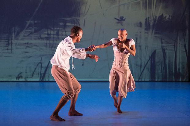 <I>Giselle</I>: Dada Masilo as Giselle and Lwando Dutyulwa as Albrecht.<br />© Laurent Phillipe. (Click image for larger version)
