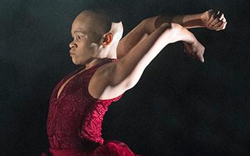 Dada Masilo in Giselle.© Laurent Phillipe. (Click image for larger version)