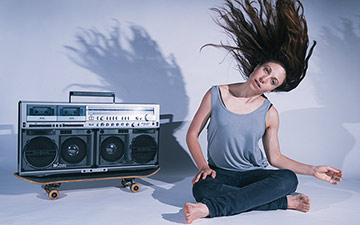 Promotional image for Nicola Gunn's Piece for Person and Ghetto Blaster.© Sarah Walker. (Click image for larger version)