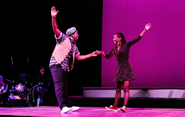Derick K. Grant and Dormeshia in And Still You Must Swing.© AK47 Division. (Click image for larger version)