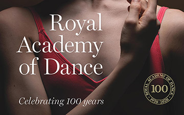 Royal Academy of Dance: Celebrating 100 Years book cover.© Scala Arts/RAD. (Click image for larger version)