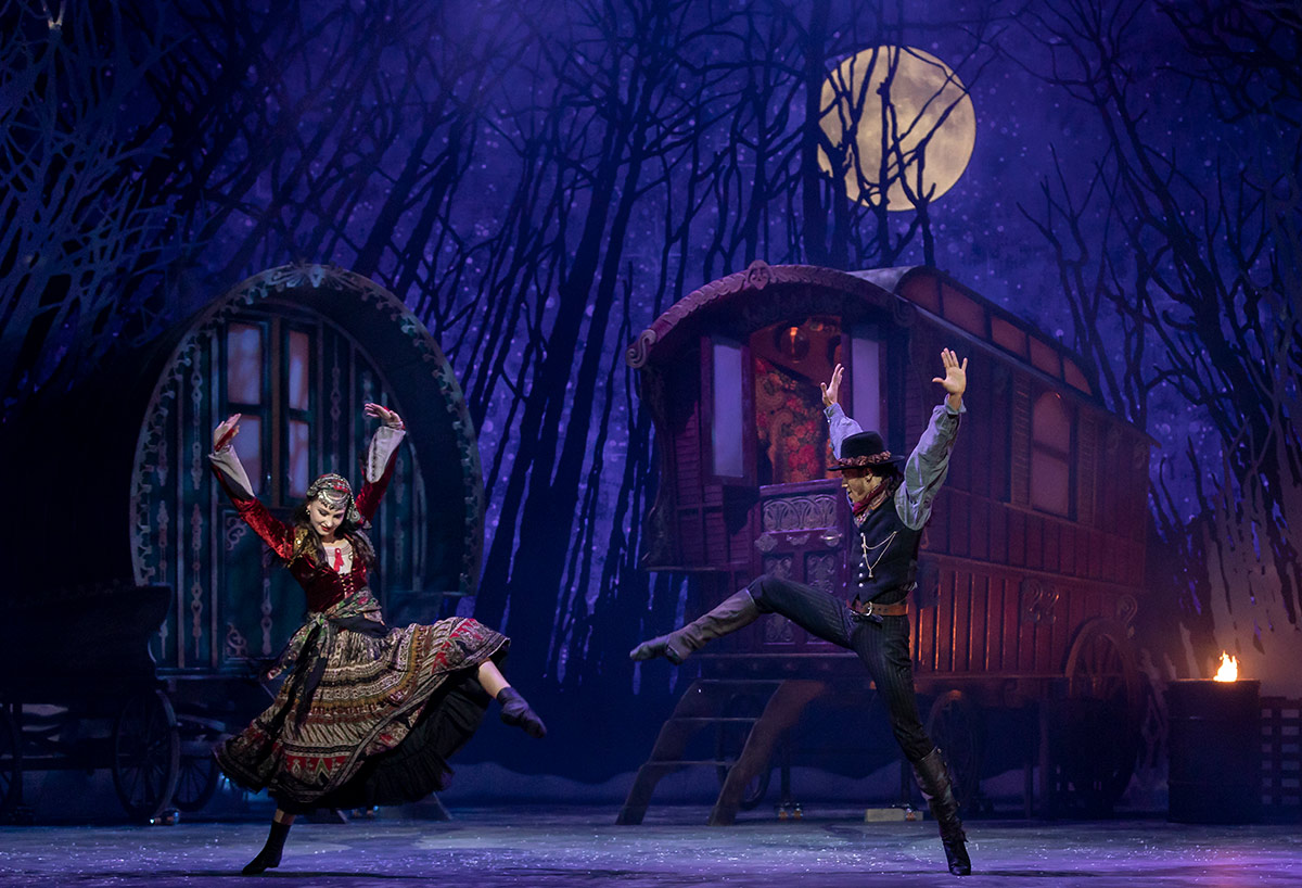 From the premiere - Grace Horler and Jerome Anthony Barnes in <I>The Snow Queen</I>.<br />© Andy Ross. (Click image for larger version)