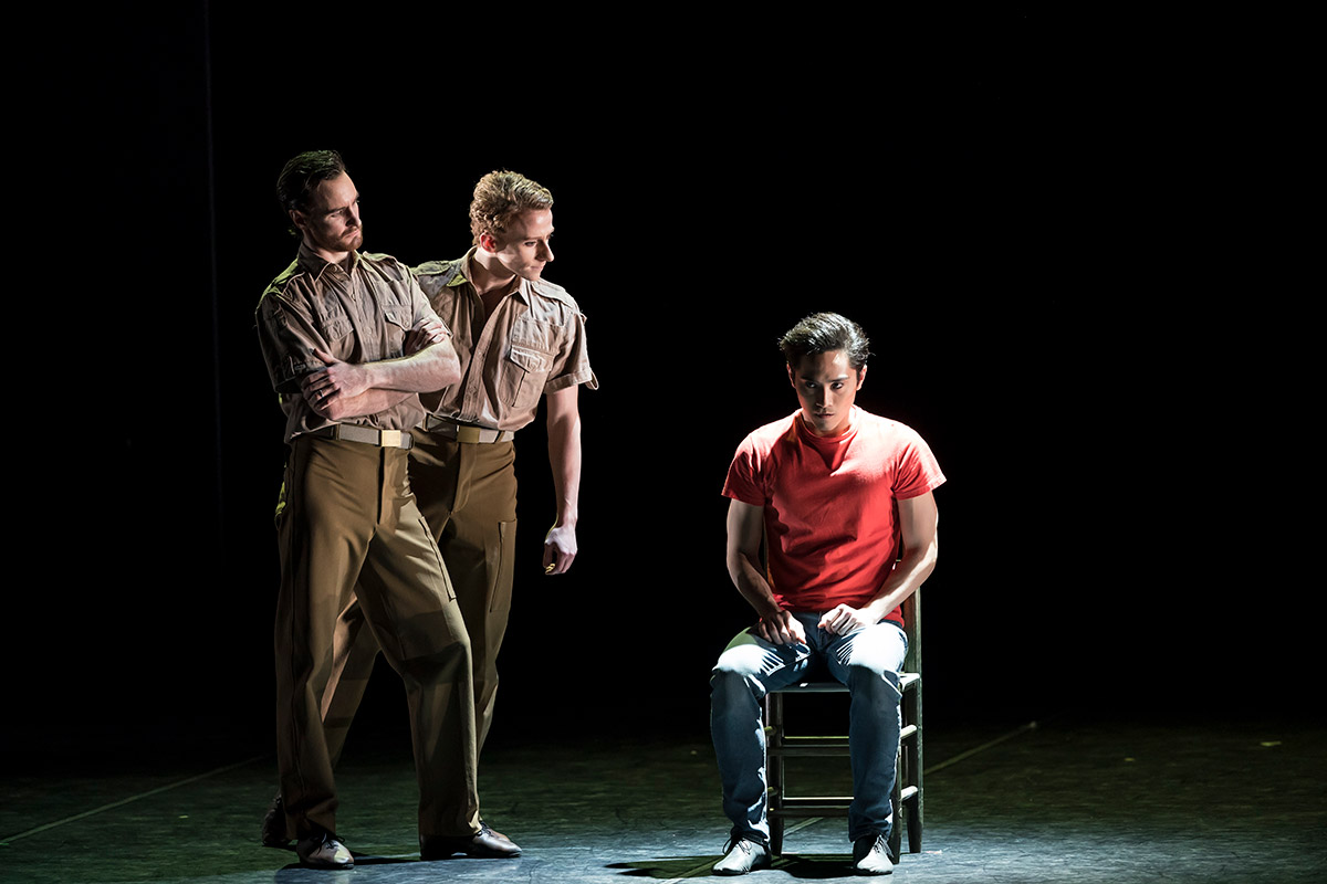 James Streeter, Matthew Astley and Jeffrey Cirio in <I>Swansong</I>.<br />© Bill Cooper. (Click image for larger version)
