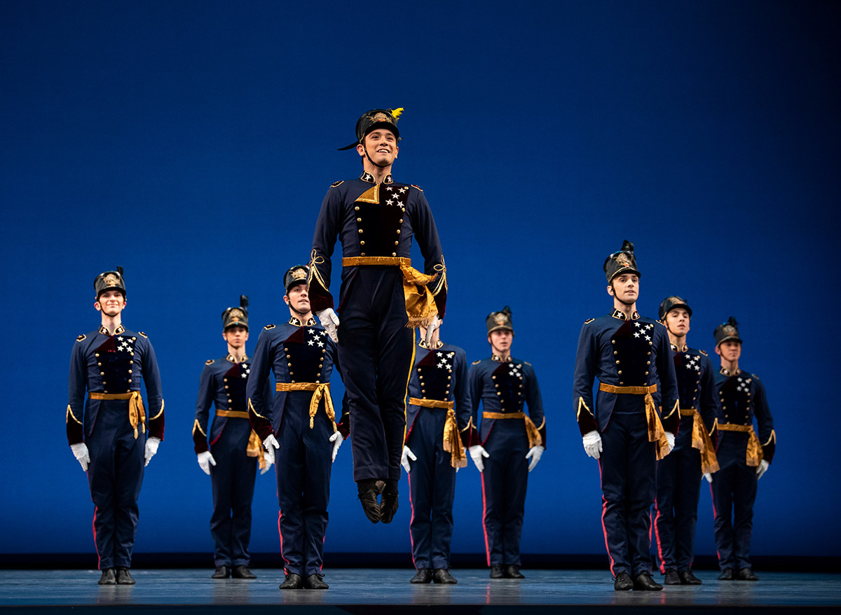 "San Francisco Ballet in the ""Men's Regiment"" from Balanchine's Stars And StripesChoreography by George Balanchine © The Balanchine Trust.© Erik Tomasson. (Click image for larger version)"