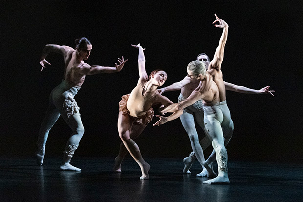 Guillaume Quéau, Edit Domoszlai, Daniel Davidson and Juan Gil in Aisha and Abhaya.© Foteini Christofilopoulou, ROH and Rambert. (Click image for larger version)
