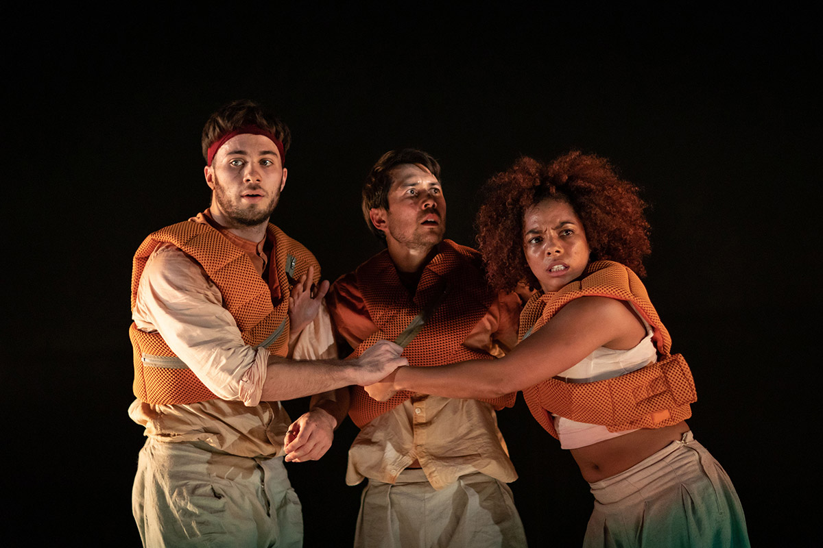 Lukas McFarlane, Tommy Franzen and Natasha Gooden in Message in a Bottle.© Helen Maybanks. (Click image for larger version)