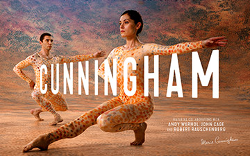 CUNNINGHAM film flyer based on Merce Cunningham's Summerspace.Photography © Mko Malkshasyan. (Click image for larger version)