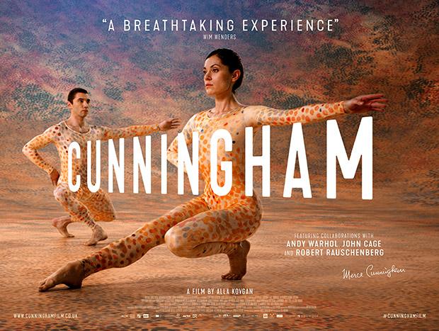 <I>CUNNINGHAM</I> film flyer based on Merce Cunningham's <I>Summerspace</I>.<br />Photography © Mko Malkshasyan. (Click image for larger version)