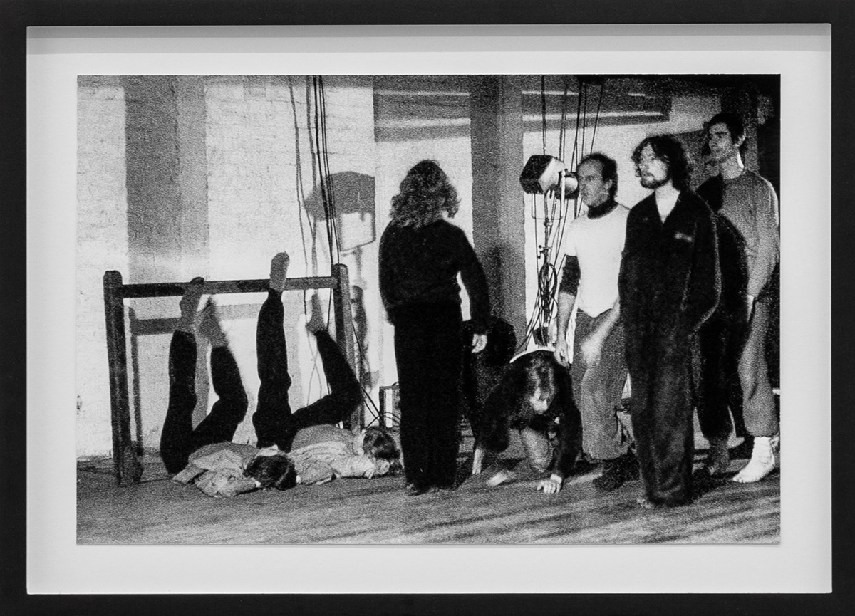 <I>Dancing Ledge</I>, 1977, Jacky Lansley with Rose English and others, X6 Dance Space. Framed c-print, original photograph by Geoff White.<br />© Rob Harris, courtesy Cell Project Space. (Click image for larger version)