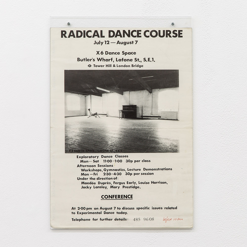 Radical dance course poster, 1976, X6 Dance Space.<br />© Rob Harris, courtesy Cell Project Space. (Click image for larger version)