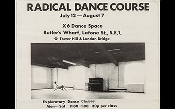 Radical dance course poster, 1976, X6 Dance Space.© Rob Harris, courtesy Cell Project Space. (Click image for larger version)