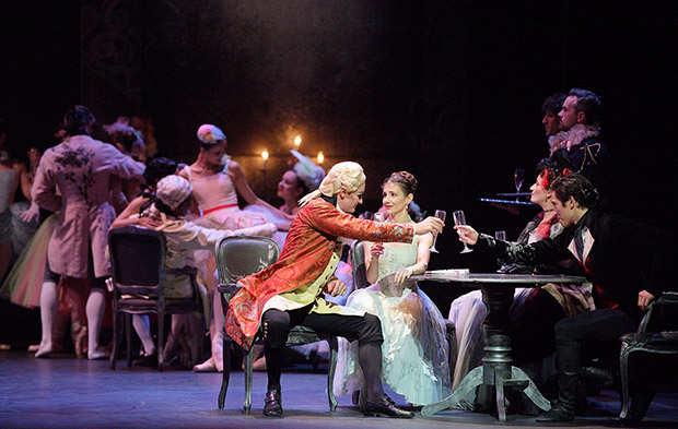 James Streeter, Alina Cojocaru, Jane Haworth and Jeffrey Cirio in <I>Manon</I>.<br />© Laurent Liotardo. (Click image for larger version)