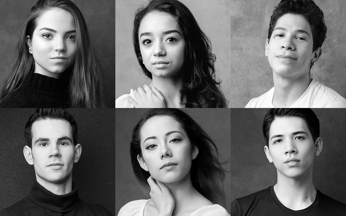 The 220 ENB Emerging Dancer finalists: Ivana Bueno, Carolyne Galvao, Miguel Angel Maidana, Victor Prigent, Emily Suzuki and William Yamada. © Karolina Kuras. (Click image for larger version)