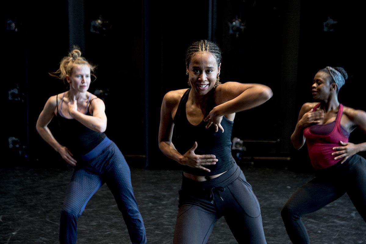 Kaja Irwin, Sabrina Comanescu and Natasha Korney of DJD in Uprooted – The Journey of Jazz Dance.© Vibecke Dahle. (Click image for larger version)