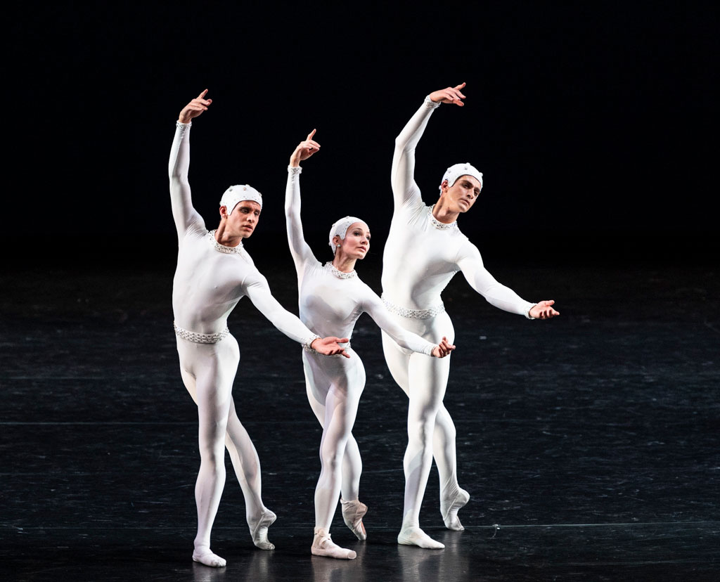 Melissa Hamilton, Reece Clarke and Nicol Edmonds in Monotones II.© Foteini Christofilopoulou, courtesy the Royal Opera House. (Click image for larger version)