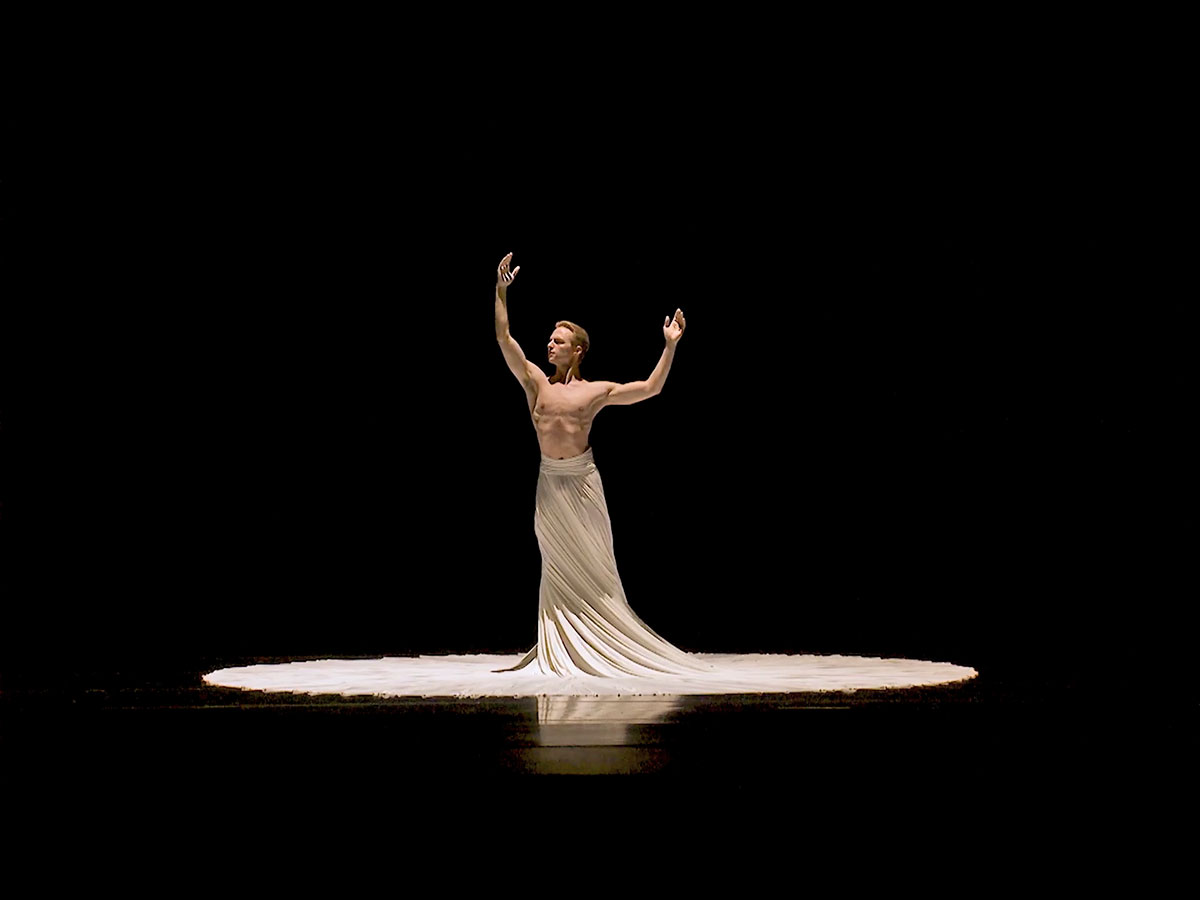 Dylan Wald in Jessica Lang's The Calling - screen grab.© Pacific Northwest Ballet. (Click image for larger version)