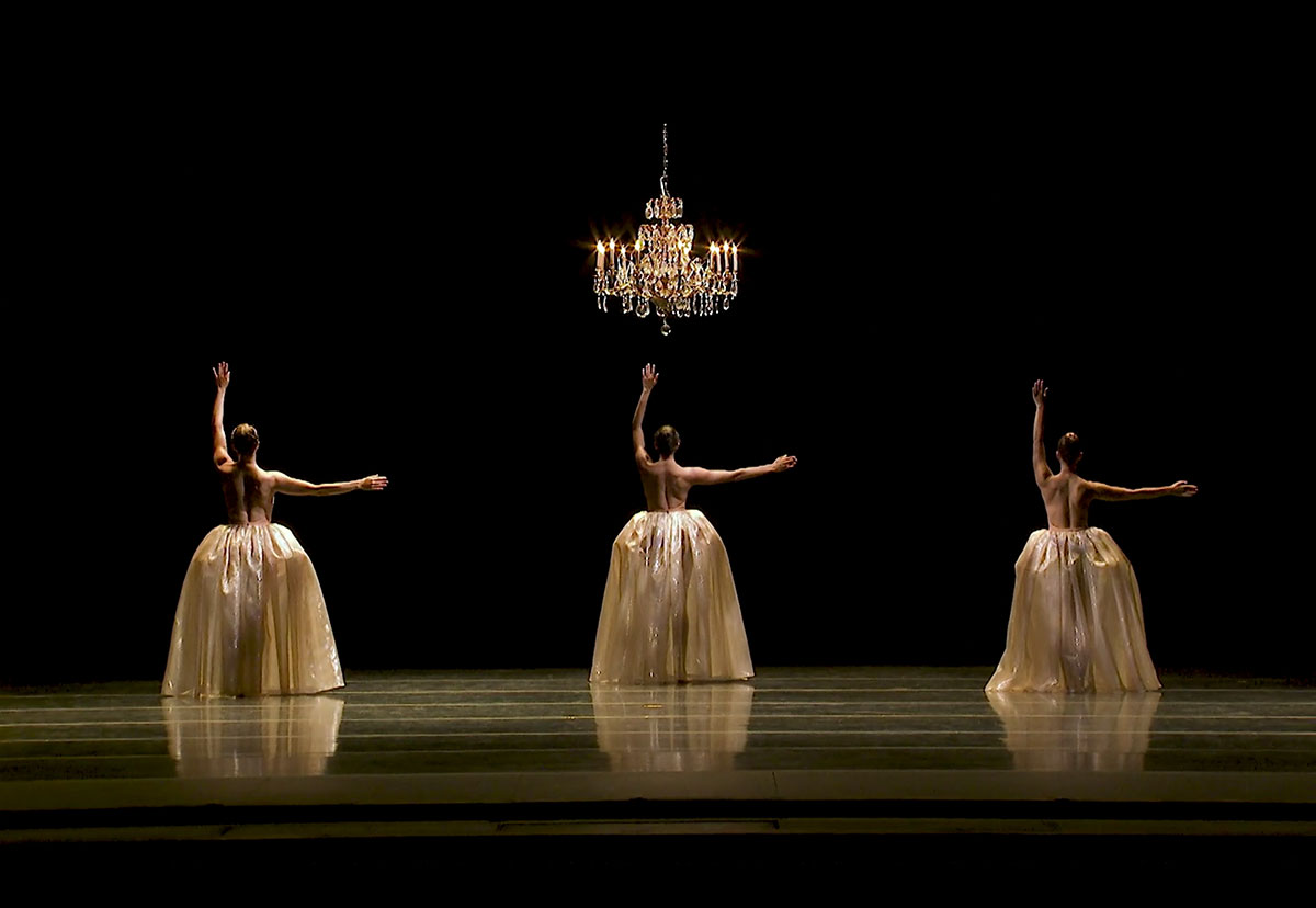Amanda Morgan, Cecilia Iliesiu and Juliet Prine in Eva Stone's <I>Foil</I> - screen grab.<br />© Pacific Northwest Ballet. (Click image for larger version)