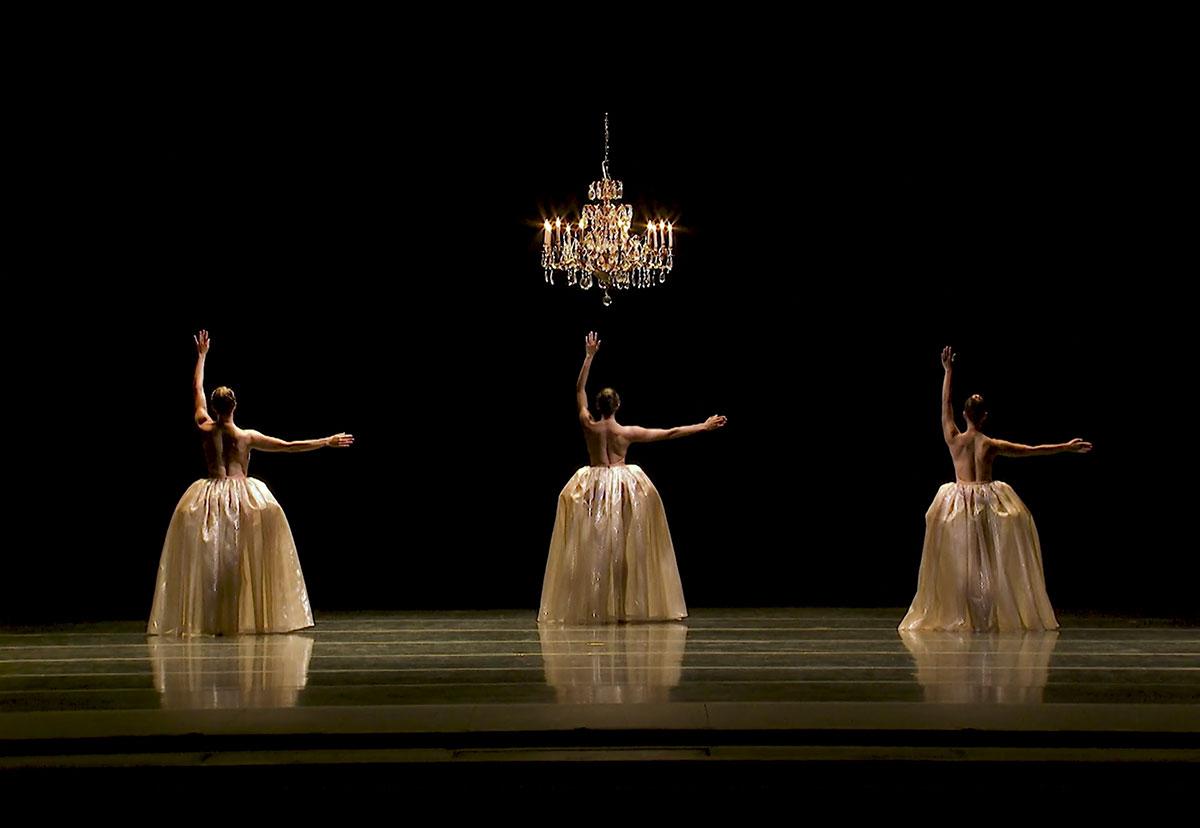 Amanda Morgan, Cecilia Iliesiu and Juliet Prine in Eva Stone's <I>Foil</I> - screen grab.<br />© Pacific Northwest Ballet. (Click image for larger version)