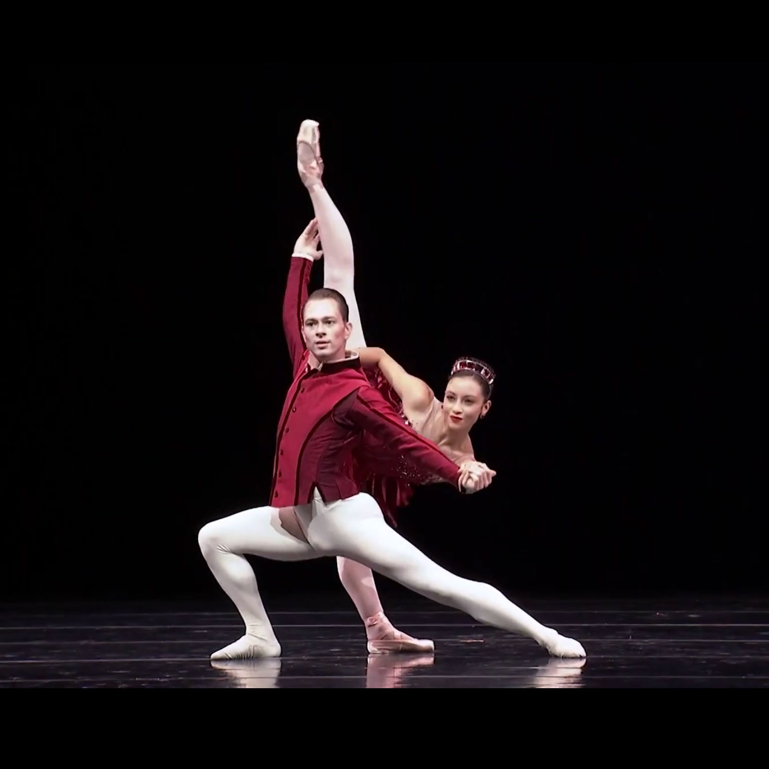 Sarah-Gabrielle Ryan and Kyle Davis in Rubies - screen grab.© Pacific Northwest Ballet. (Click image for larger version)
