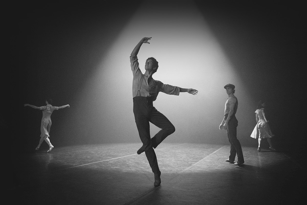 Emma Hawes, Isaac Hernandez, Francesco Gabriele Frola and Alison McWhinney in Senseless Kindness, a film by Thomas James with choreography by Yuri Possokhov.© English National Ballet. (Click image for larger version)