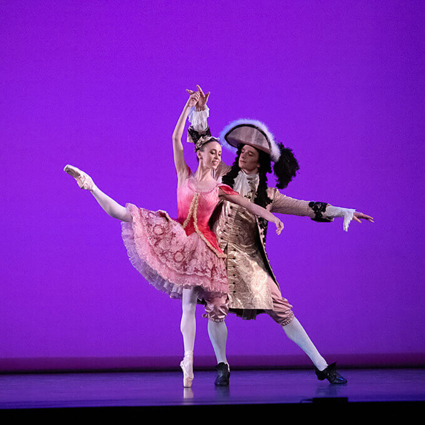 Skylar Brandt and Aran Bell in the Rose Adagio from <I>The Sleeping Beauty</I>.<br />© Christopher Duggan. (Click image for larger version)