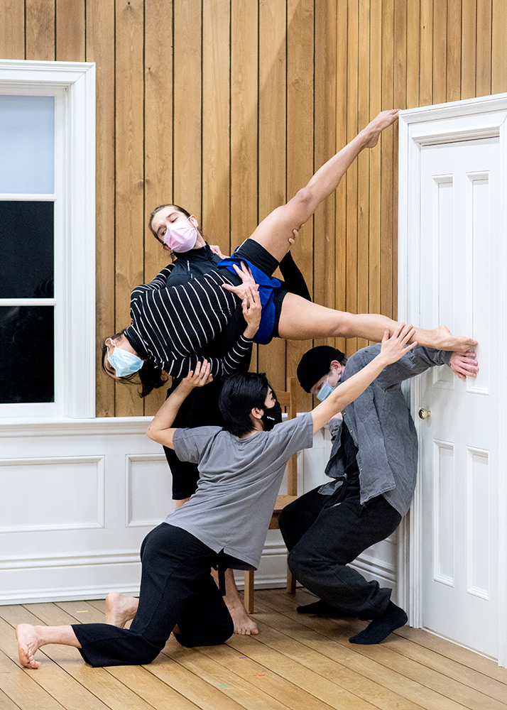 Rambert dancers in rehearsal for Rooms.© Camilla Greenwell. (Click image for larger version)
