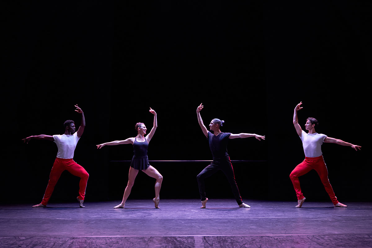 Brooklyn Mack, Tiler Peck, Lex Ishimoto and Roman Mejia in <I>The Barre Project</I>.<br />© CLI Studios/The Barre Project. (Click image for larger version)
