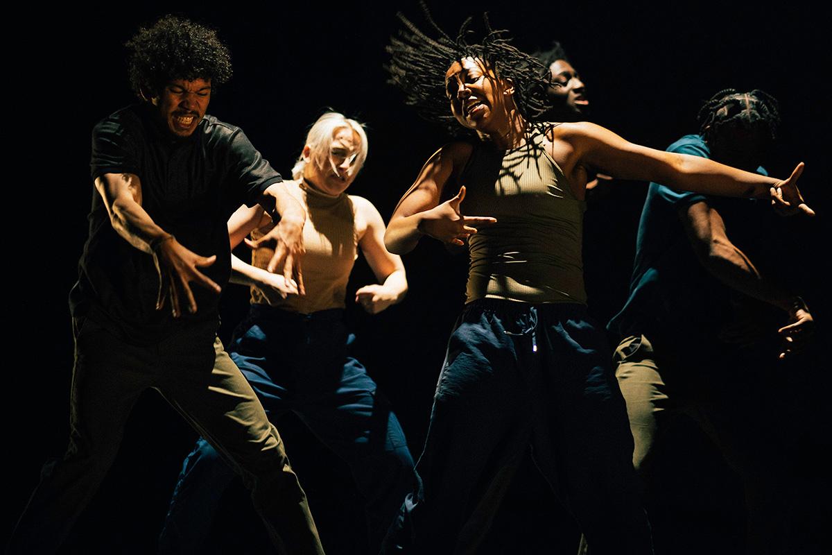 Just Us Hip Hop Apprenctice Co - Cache Thake, Penelope Klamert, Aisha Webber, Dilyon Graham & Leroy Kanyowa.© Elliott Banks. (Click image for larger version)
