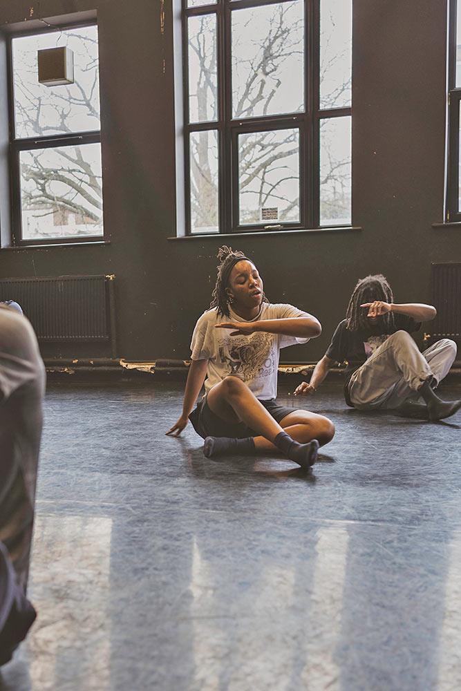 Just Us Hip Hop Apprentice Co. - dancer Aisha Webber in the studio.<br />© Elliott Banks. (Click image for larger version)