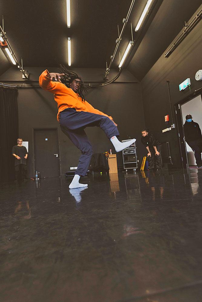 Just Us Hip Hop Apprentice Co. - dancer Dilyon Graham in the studio.<br />© Elliott Banks. (Click image for larger version)