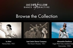 Entry point to the Jacob's Pillow Dance Interactive archive together with some index entries from the 1940s© Jacob's Pillow. (Click image for larger version)