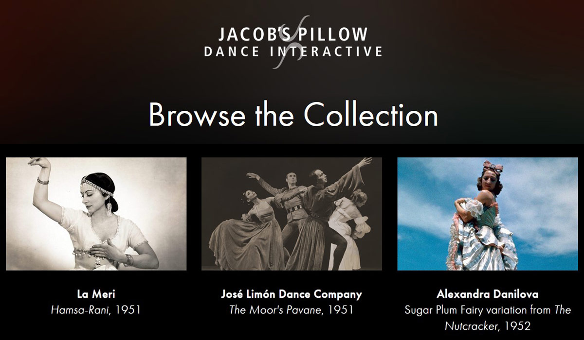 Entry point to the Jacob's Pillow Dance Interactive archive together with some index entries from the 1940s<br />© Jacob's Pillow. (Click image for larger version)